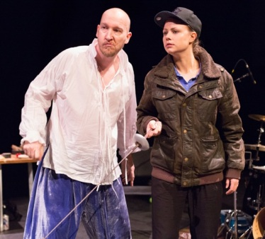 Dan Poole (Toby Belch) and Amy Marchant (Viola) in Filter Theatre's Twelfth Night - photo Mark Garvin