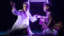 Denise Gough (Harper) and Andrew Garfield (Prior) in AngelsInAmerica Perestroika photo by Helen Maybanks