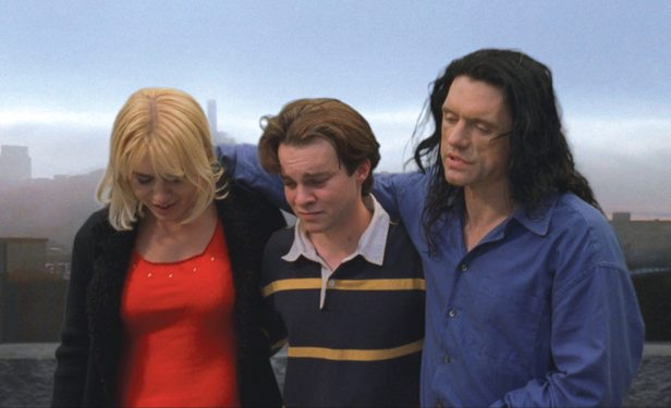 "In this film publicity image released by Chloe Productions/TPW Films, Juliette Danielle, left,Philip Haldiman, center, and Tommy Wiseau are shown in a scene from ""The Room."" (AP Photo/Chloe Productions/TPW Films)"