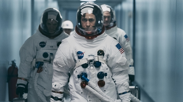 (L to R) LUKAS HAAS as Mike Collins, RYAN GOSLING as Neil Armstrong and COREY STOLL as Buzz Aldrin in First Man, directed by Oscar®-winning filmmaker Damien Chazelle (La La Land).
