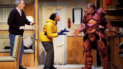 Theatre Royal Bath & Jonathan Church Productions Vulcan 7 by Adrian Edmondson and Nigel Planer Dress Rehearsal Sept 2018 Directed by Steve Marmion Designer Simon Higlett Lighting Designer Philip Gladwell Adrian Edmondson/Gary Savage Nigel Planer/Hugh Delavois Lois Chimimba/Leela ©NOBBY CLARK +44(0)7941-515770 +44(0)20-7274-2105 nobby@nobbyclark.co.uk