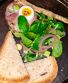 Smoked ham terrine with quail egg