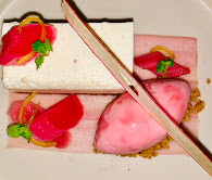 Vanilla cheesecake with poached rhubarb