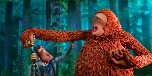 Sir Lionel Frost (left) voiced by Hugh Jackman and Mr. Link (right) voiced by Zach Galifianakis in director Chris Butler's MISSING LINK, a Laika Studios Production and Annapurna Pictures release. Credit : Laika Studios / Annapurna Pictures