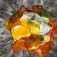 crumpet, smoked trout, poached egg